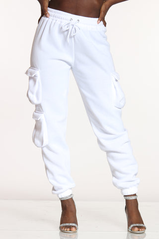 Women's 3 Cargo Pockets Fleece Jogger - White-VIM.COM
