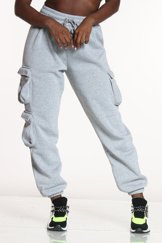 Women's 3 Cargo Pockets Fleece Jogger - Heather Grey-VIM.COM