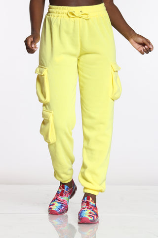 Women's 3 Cargo Pockets Fleece Jogger - Yellow-VIM.COM