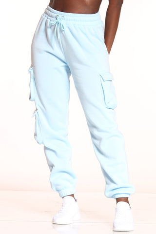 Women's 3 Cargo Pockets Fleece Jogger - Blue-VIM.COM
