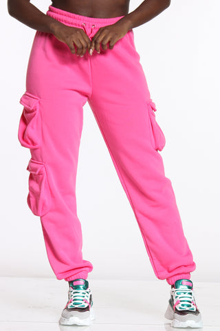 Women's 3 Cargo Pockets Fleece Jogger - Pink-VIM.COM