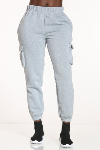 Women's Cargo Pocket Fleece Jogger - Heather Grey-VIM.COM