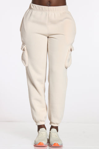 Women's Cargo Pocket Fleece Jogger - Beige-VIM.COM