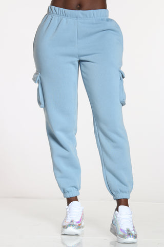 Women's Cargo Pocket Fleece Jogger - Blue-VIM.COM