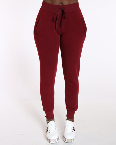 Women's Ollie Fleece Pant - Burgundy-VIM.COM