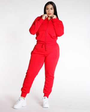 VIM VIXEN Knitted Fleece Jogger - Red - ShopVimVixen.com