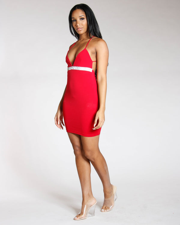 VIM VIXEN Rhinestone Criss Cross Dress - Red - ShopVimVixen.com