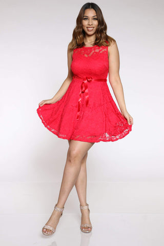 Women's Traycee Lace Skater Dress - Red-VIM.COM