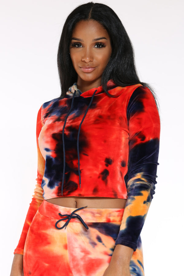 Women's Tie Dye Velour Po Hoodie - Orange-VIM.COM