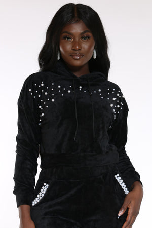 Women's Velour Pearl Trim Hoodie - Black-VIM.COM