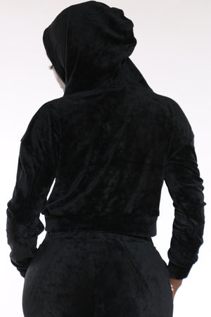 Women's Velour Pearl Trim Hoodie - Black