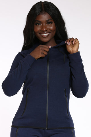 Women's Tech Fleece Hoodie - Navy-VIM.COM