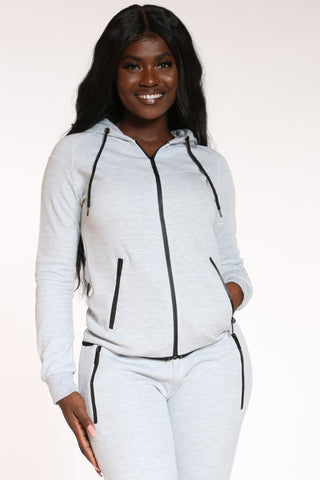 Women's Tech Fleece Hoodie - Grey-VIM.COM