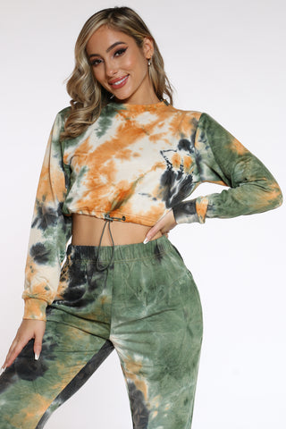 Women's Tie Dye Bungee Top - Green-VIM.COM