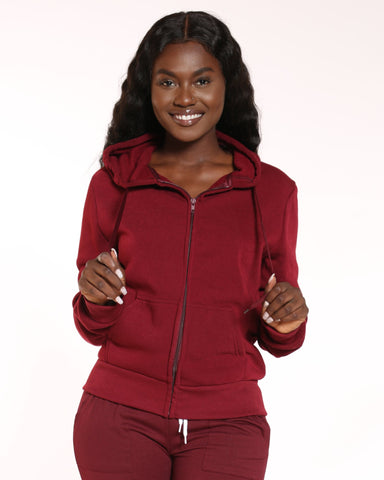 VIM VIXEN Ollie Fleece Full Zip Hoodie - Burgundy - ShopVimVixen.com