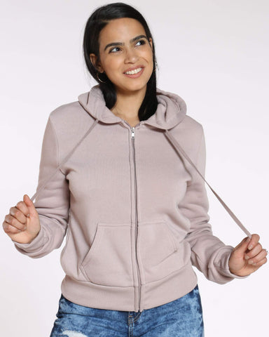 Women's Ollie Fleece Full Zip Hoodie - Taupe-VIM.COM