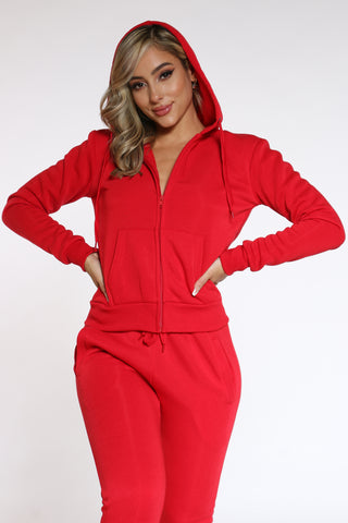 Women's Fleece Zip Hoodie - Red-VIM.COM