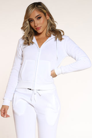 Women's Fleece Zip Hoodie - White-VIM.COM