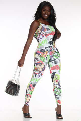 Women's Magazine Print Jumpsuit - Wowcomic-VIM.COM