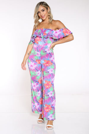 Women's Printed Off Shoulder Ruffle Catsuit - Floral Orchid-VIM.COM