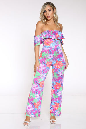 Women's Printed Off Shoulder Ruffle Catsuit - Floral Orchid
