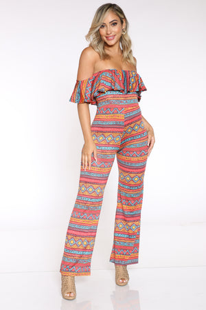 Women's Printed Off Shoulder Ruffle Catsuit - Aztec-VIM.COM