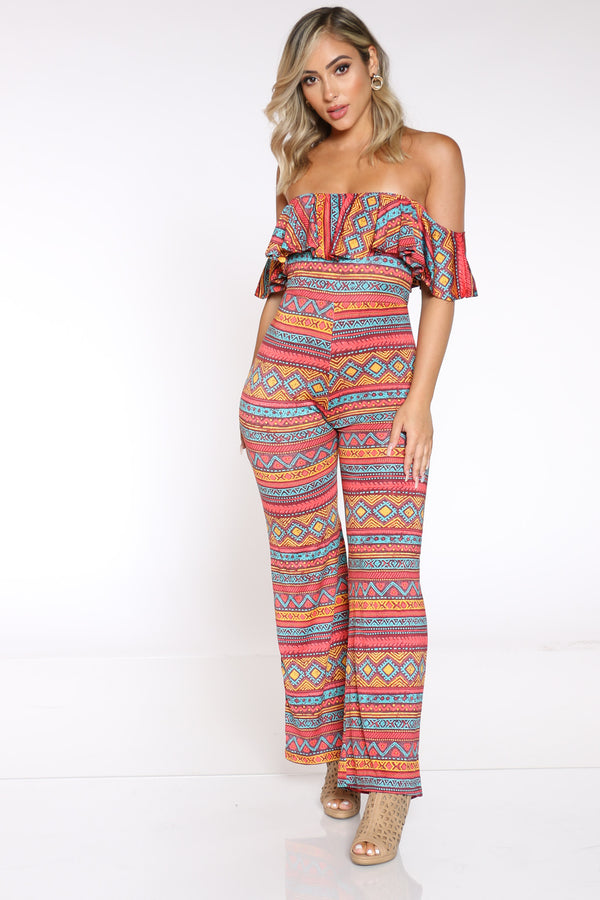 Women's Printed Off Shoulder Ruffle Catsuit - Aztec