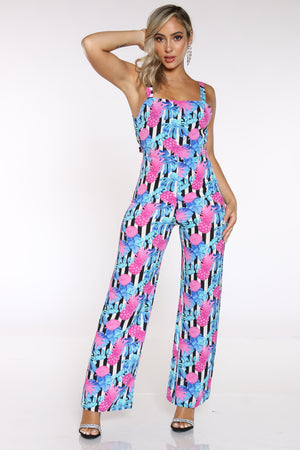 Women's Printed Floral Jumpsuit - Blue