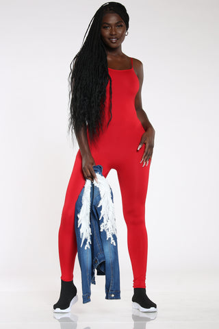 Women's Solid Catsuit - Red-VIM.COM