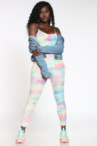 Women's Tie Dye Ribbed Catsuit - Blue Pink-VIM.COM