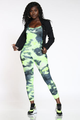 Women's Tie Dye Ribbed Catsuit - Green Black-VIM.COM