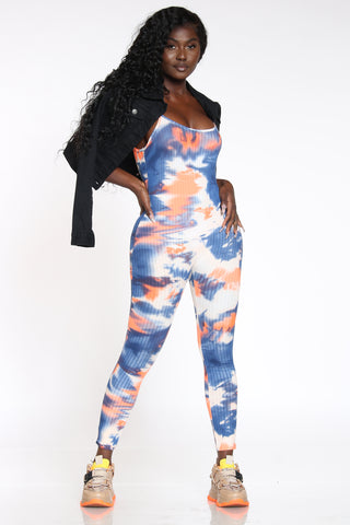 Women's Tie Dye Ribbed Catsuit - Orange Navy-VIM.COM