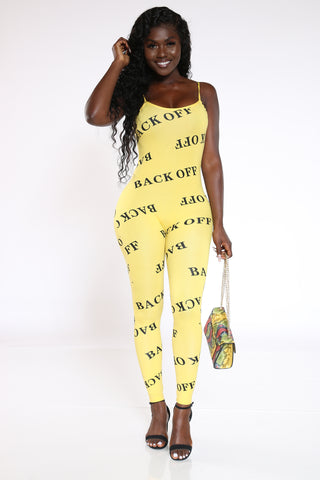 Women's Back Off All Over Catsuit - Yellow-VIM.COM