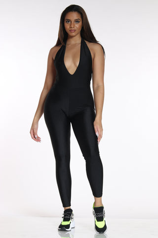 Women's Disco Halter Jumpsuit - Black-VIM.COM