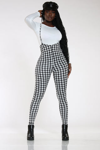 Women's Houndstooth Jumpsuit - Black White-VIM.COM
