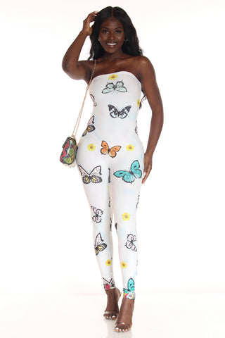 Women's Butterflies Strapless Catsuit - White Multi-VIM.COM