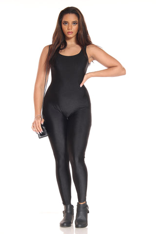 Women's Disco Shiny Catsuit - Black-VIM.COM