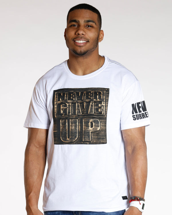 VIM White Never Give Up Brushed Metallic Tee - Vim.com