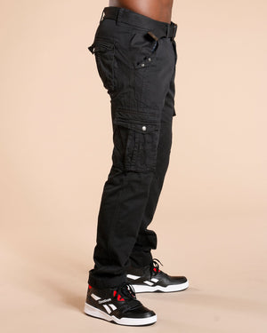 VIM Men'S Belted Cargo Pants - Black - Vim.com