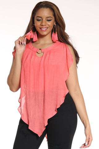 Women's Flare Sleeveless Top - Coral-VIM.COM