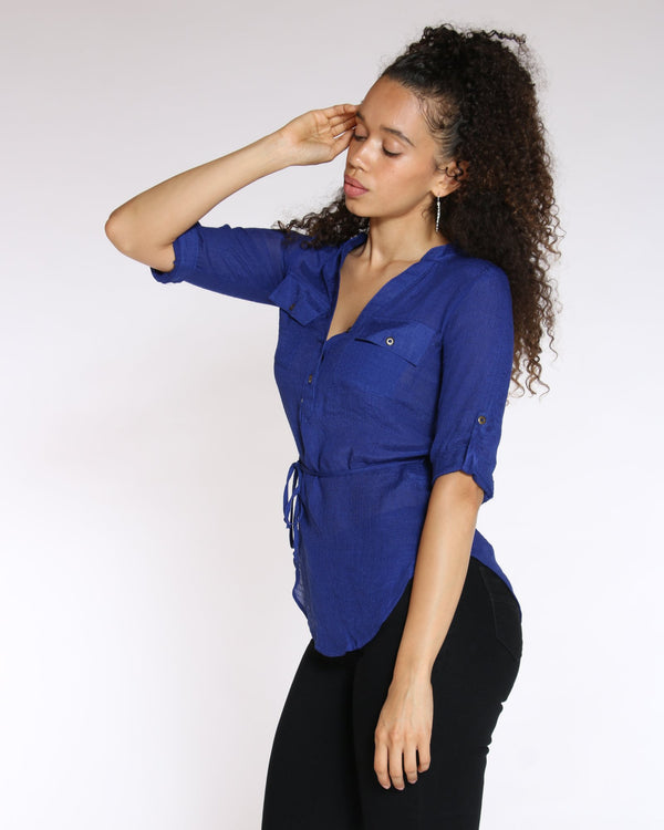 VIM VIXEN No Regrets Tie Front Top - Royal - ShopVimVixen.com