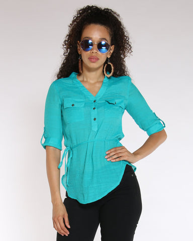 VIM VIXEN No Regrets Tie Front Top - Jade - ShopVimVixen.com