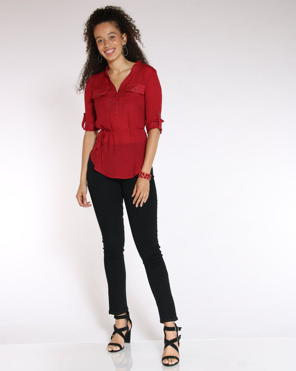 VIM VIXEN No Regrets Tie Front Top - Red - ShopVimVixen.com