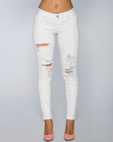 YMI-Women's Sassy Distress Jean - White-VIM.COM