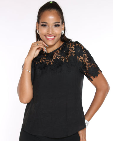 VIM VIXEN Katy Crochet Top - Black - ShopVimVixen.com