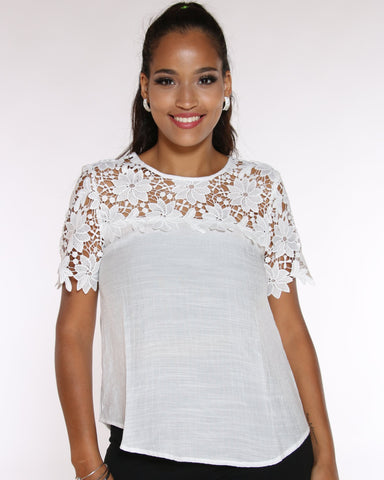 VIM VIXEN Katy Crochet Top - White - ShopVimVixen.com