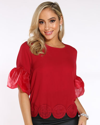 VIM VIXEN Shana Bell Sleeves Mesh Top - Red - ShopVimVixen.com
