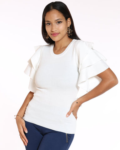 VIM VIXEN Naomi Sweater Fabric Ruffle Top - Off White - ShopVimVixen.com