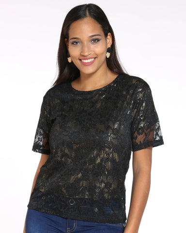 Women's Holly Floral Lace Lurex Top - Black-VIM.COM