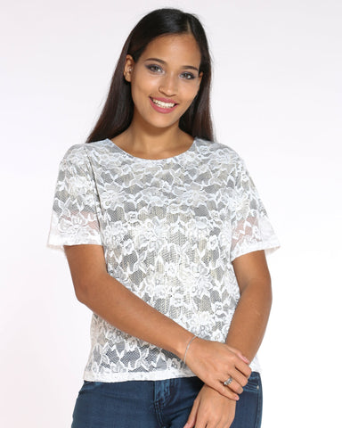 Women's Holly Floral Lace Lurex Top - White-VIM.COM